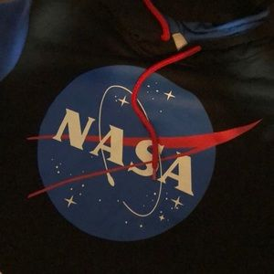 Small Black with blue sleeved NASA hoodie
